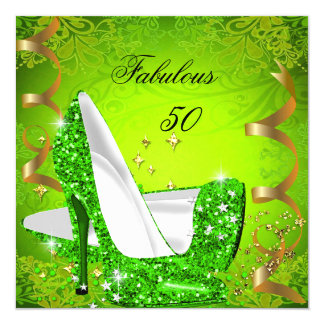 Fabulous 50 Woman's Lime Green Gold Party 2 Card