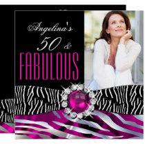 Fabulous 50 Zebra Black Pink Silver Birthday Party Invitation