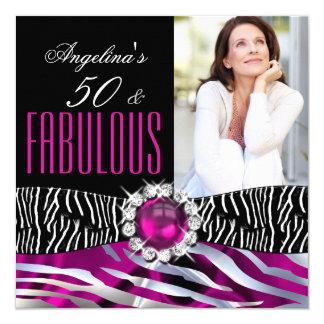 Fabulous 50 Zebra Black Pink Silver Birthday Party 5.25x5.25 Square Paper Invitation Card