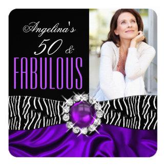 Fabulous 50 Zebra Black Purple Silk Birthday 2 Card