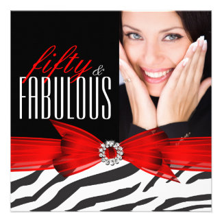 Fabulous 50 Zebra Red Black Photo Birthday Party Announcement