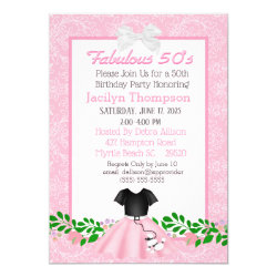 Fabulous 50s Poodle Skirt Birthday  Invitations