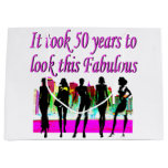 FABULOUS 50TH BIRTHDAY FASHION QUEEN DESIGN LARGE GIFT BAG