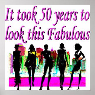 FABULOUS 50TH BIRTHDAY FASHION QUEEN DESIGN POSTER