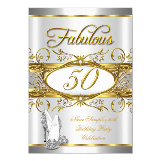 Fabulous 50th Birthday Gold Silver High Heels Card