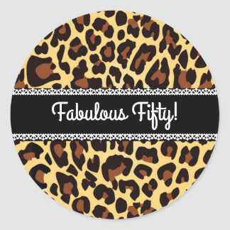 Fabulous 50th Birthday Leopard and Lace A12 Classic Round Sticker