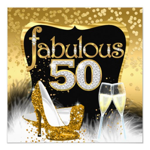 Fabulous 50th Birthday Party Gold Diamond Glitter Card ...
