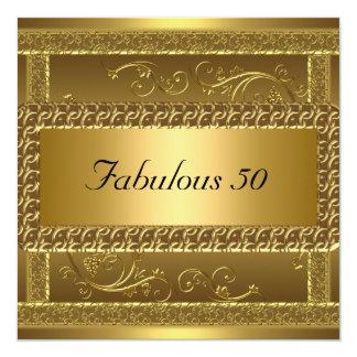 Fabulous 50th Birthday Party Gold Invitation