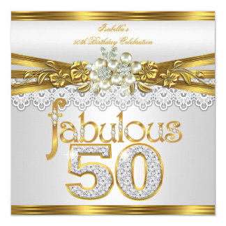Fabulous 50th Birthday White Pearl Gold Lace Card