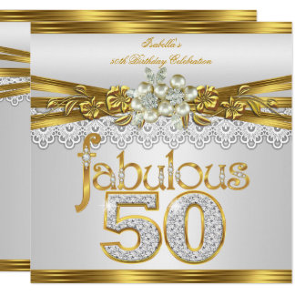 Fabulous 50th Birthday White Pearl Gold Lace
