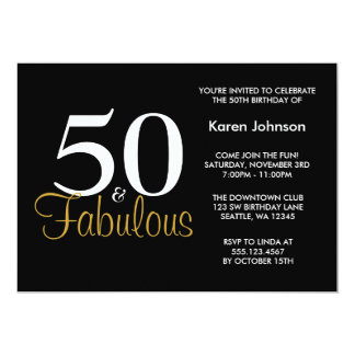 Fabulous 50th Black and Gold Birthday Party Card