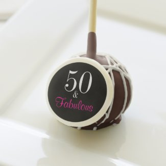 Fabulous 50th Black and Pink Birthday Cake Pops
