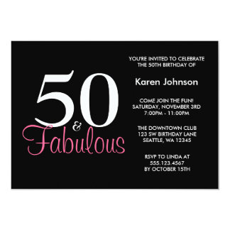 Fabulous 50th Black and Pink Birthday Invitation