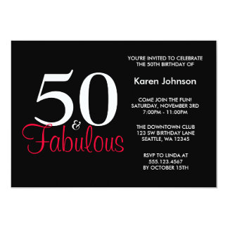 Fabulous 50th Black and Red Birthday Invitation