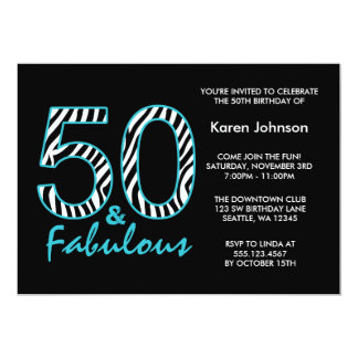 Fabulous 50th Black and Teal Zebra Birthday Card