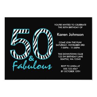 Fabulous 50th Black and Teal Zebra Birthday Card