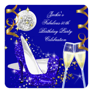 Fabulous 50th Blue Glitter High Heel Birthday 3 5.25x5.25 Square Paper Invitation Card