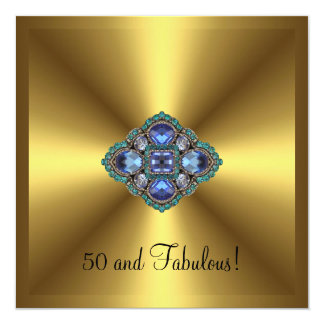 Fabulous 50th Gold Blue Jewel Birthday Card