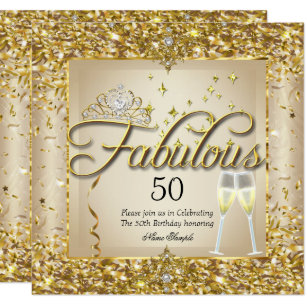 Fabulous 50th Gold Champagne Birthday Party Invitation