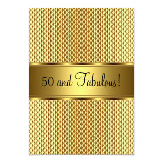 Fabulous 50th Gold Elegant Birthday Party Card
