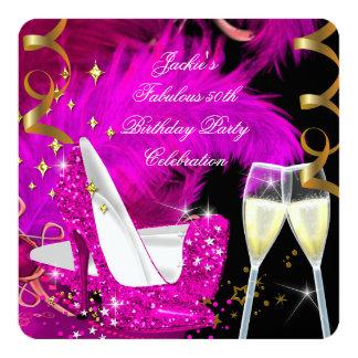 Fabulous 50th Hot Pink Glitter High Heel Birthday Custom Invite