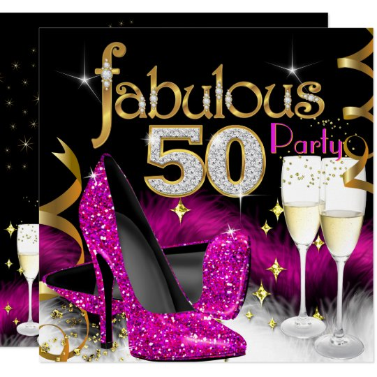 Fab 50 Birthday: Fabulous 50th Party Glitter Hot Pink Champagne Card
