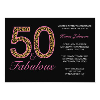 Fabulous 50th Pink Black Leopard Birthday Party 5x7 Paper Invitation Card