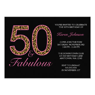 Fabulous 50th Pink Black Leopard Birthday Party Custom Invites