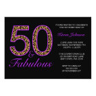 Fabulous 50th Purple Black Leopard Birthday Party Card