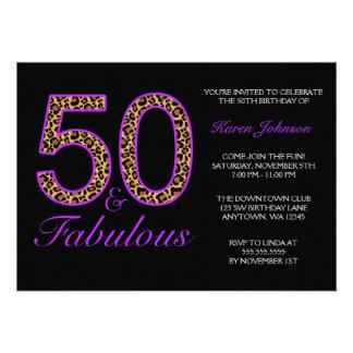 Fabulous 50th Purple Black Leopard Birthday Party Invite