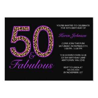 Fabulous 50th Purple Black Leopard Birthday Party 5x7 Paper Invitation Card