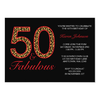Fabulous 50th Red Black Leopard Birthday Party 5x7 Paper Invitation Card