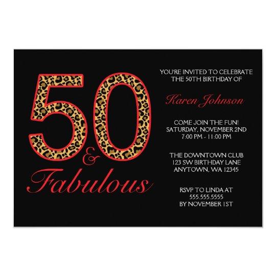 fabulous 50th red black leopard birthday party invitation zazzle com