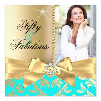 Fabulous 50th Teal Gold Leaf & Bow 50th Birthday Card