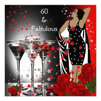 Fabulous 60 60th Birthday Party Red Roses Martini Invite