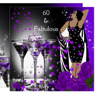 Fabulous 60 60th Birthday Purple Roses Martini Card