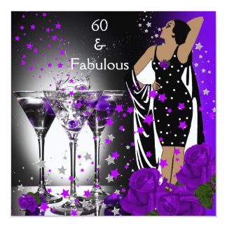 "Fabulous 60 60th Birthday Purple Roses Martini 5.25"" Square Invitation Card"