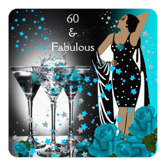Fabulous 60 60th Birthday Teal Roses Martini Card