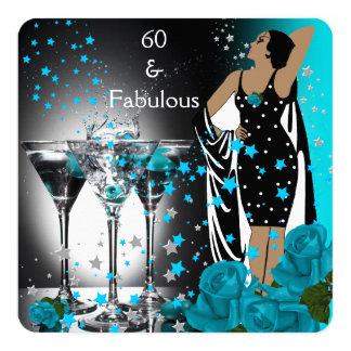 Fabulous 60 60th Birthday Teal Roses Martini Card