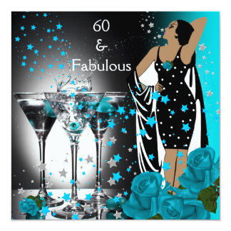 "Fabulous 60 60th Birthday Teal Roses Martini 5.25"" Square Invitation Card"
