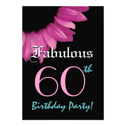 Fabulous 60 Birthday Party Pink Sunflower Custom Announcements