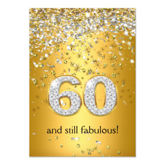 Fabulous 60 Gold Silver Streamers 60th Birthday 5x7 Paper Invitation Card
