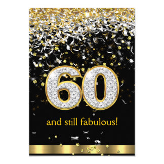 Fabulous 60 Gold Silver Streamers 60th Birthday B Card