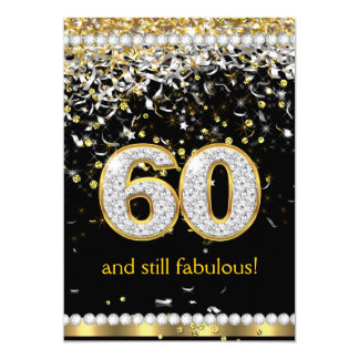 Fabulous 60 Gold Silver Streamers 60th Party Card