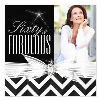 Fabulous 60 Photo Chevron Black White Birthday Card