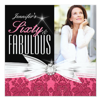 Fabulous 60 Photo Damask Pink 60th Birthday Party Card