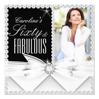 Fabulous 60 Photo Elegant Black White Birthday 2 5.25x5.25 Square Paper Invitation Card