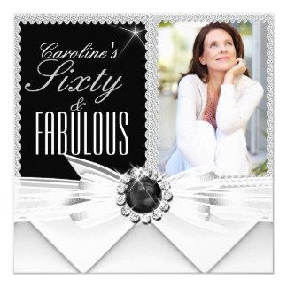 Fabulous 60 Photo Elegant Black White Birthday 3 Card