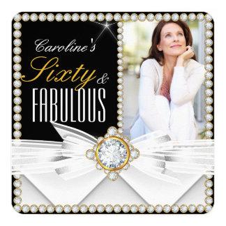 Fabulous 60 Photo Elegant Diamond Gem Birthday Card