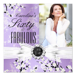 Fabulous 60 Photo Elegant Lilac Blossom Birthday Card
